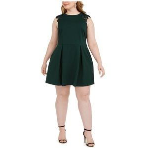 Speechless Plus Lace-Contrast Fit & Flare Dress 3X